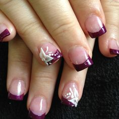 3d nail art. I like the purple french tip top