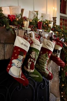 Christmas Stockings - {a gorgeous display! I don't think we have these exact stockings, but we are offering free name embroidery right now (11/15/12).}