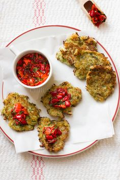 Zucchini and halloumi fritters with red pepper salsa