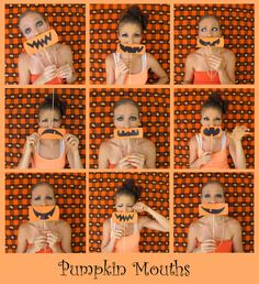 Pumpkin Mouths - Photo Booth Idea.  Also need some kind of back drop for the pics.