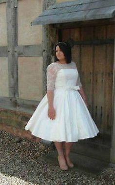 Tea Length Half Sleeve Wedding Dress Bridal Gown Plus Size Custom 18 20 22 24