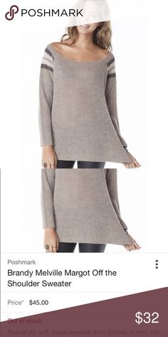 Brandy Melville off the shoulder pullover Brandy Melville off the shoulder pullover. Really good condition. One size, but would fit small or medium the best Brandy Melville Sweaters
