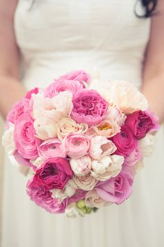 "A little more ""romantic"" of a bouquet...this style is very fitting for The Arbors...Ombre fuchsia bouquet by Hello Blossoms"