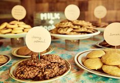 Treat guests to one of these awesome DIY food stations. Cookie Bar Wedding, Wedding Cookies, Wedding Desserts, Cookie Table, Cookie Bars, Cookie Buffet, Milk Cookies, Cute Cookies, Dessert Bars