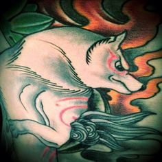 Amaterasu from Clover-Capcom Game Okami. Detail pic from full tattoo
