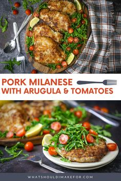 This recipe for Pork Milanese with arugula and blistered tomatoes will make Giada jealous! Save the trip to the Olive Garden and make this at home from scratch. It is easy and simple to make this delicious dinner idea for a crowd or a weeknight meal. Pork Milanese, Healthy Family Dinners, Quick Weeknight Dinners, Easy Meals, Pork Recipes, Chicken Recipes, Simple Recipes, Amazing Recipes, Tomatoes