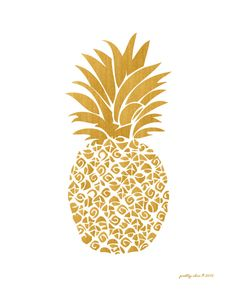 Gold Pineapple Print Tropical Island Beach by prettychicsf