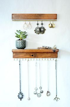 Jewelry Organizer With Shelf Earring Display and Necklace