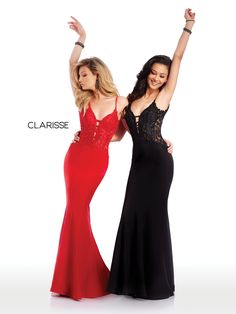 5003 - Red and Black stretch satin prom dresses with lace tops