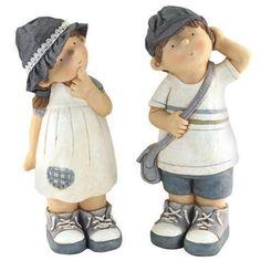 2 figuras decorativas - chico chica niños +, 50 cm: Amazon.es: Hogar