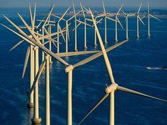 デンマークの風力発電機。これだけの量の発電機が海上で一列に並ぶと壮観。