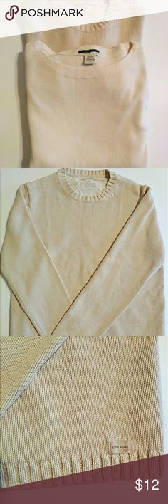 2 Eddie Bauer Women's long sleeve sweaters 2 cream colored long sleeve tips. Bottom sweater (in first picture) is thicker. Both 100%, size M and in great condition! Eddie Bauer Sweaters