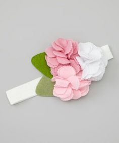 Take a look at this Pink & White Felt Flower Headband by Sweet Charlotte on #zulily today!