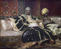 Janissaire et eunuque, Jean-Joseph Benjamin Constant African History, African Art, Fantasy Kunst, Fantasy Art, Art Arabe, Art Afro, Arabian Art, Classical Art, Arabian Nights
