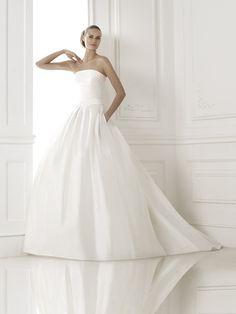 Strapless Chapel Train Satin Ball Gown Wedding Dress 2015