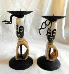 African Candle Holder- Metal Bone Wood - Novelty Fun