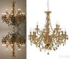 Pendant Lamp Gioiello Crystal Gold 14-Brancheby KARE Design #gold #lamp  #glamour #blingbling #glitter #diamonds #sparkle #KARE #KAREDesign