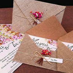 #convite #rustico #juta #flores #casamento