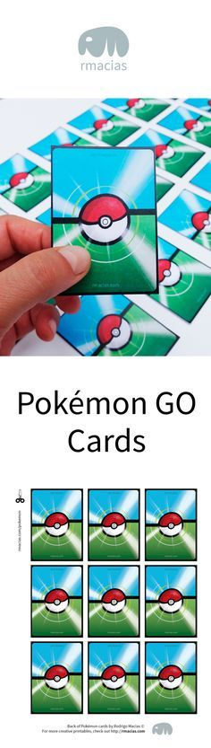 Pokemon Go Playing Cards Design for DIY Games or Pokemon party decorations - Free Printable by Kids Activities Designer Rodrigo Macias