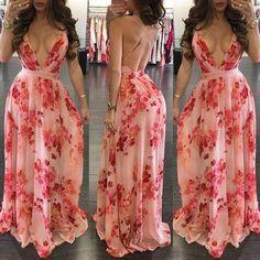 Low cut floral crisscross open back pleated maxi dress v dress, floral maxi Pretty Dresses, Sexy Dresses, Beautiful Dresses, Casual Dresses, Fashion Dresses, Prom Dresses, Summer Dresses, Formal Dresses, Low Cut Dresses