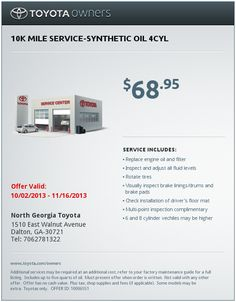 oil change coupons toyota service