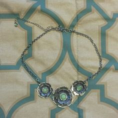 Silver and mint floral bibb statement necklace Beautiful necklace. Brand new in box with tags. Necklace pictured is same style but the one I'm selling has never been worn even once. Adds a nice pop off color to a neutral outfit or helps tie in other pieces with the beautiful mint green in the center of each flower. Lia Sophia Jewelry Necklaces
