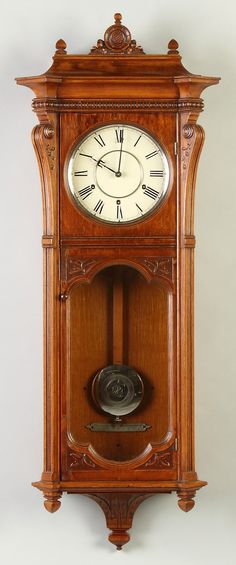 Learn more about Seth Thomas Marcy Wall Regulator available at Cottone Auctions. Take a look now before it is too late! Brown Clocks, Old Clocks, Antique Clocks, Dining Room Hutch, Woodworking Projects Diy, Diy Projects, Art Deco Lamps, Grandfather Clock, Wooden Watch