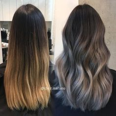 Hairstyles and Beauty: The Internet`s best hairstyles, fashion and makeup pics are here. Ashy Hair, Brown Blonde Hair, Light Brown Hair, Brunette Hair, Brunette Color, Gray Hair Highlights, Hair Color Balayage, Gray Balayage, Hair Dye Colors