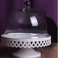 White+Wrought+Iron+Cake+Set+With+Glass+Dome+–+USD+$+69.99