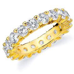 Amore 14k Gold 4ct TDW Shared Prong-set Diamond Eternity Wedding Band (H-I, I1-I2) (Yellow Gold - 6.5), Women's