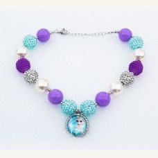 Girls Chunky Aqua Lilac Silver FROZEN Elsa Anna Bubblegum Necklace, Bubble Gum chunky girls necklace, Chunky Bead Necklace