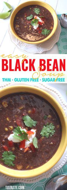 Easy Black Bean Soup (THM E • Low Fat • Gluten Free) via @TJsTaste