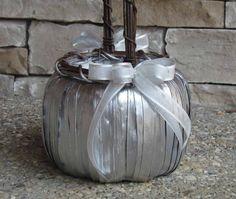 Silver Pumpkin Basket for your Fall/Cinderella Wedding by justanns Storybook Wedding, Wedding Book, Rose Wedding, Flower Girl Basket, Flower Girls, Cinderella Pumpkin Carriage, Cinderella And Prince Charming, Cinderella Wedding, Blue Hydrangea