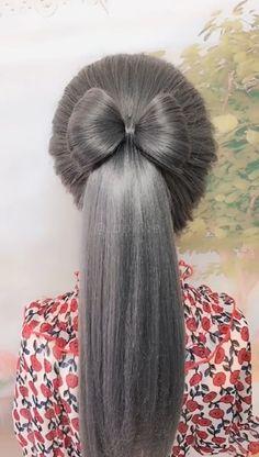 Easy-to-learn bowknot hairstyle idea - Fashion - Haar Design Hair Tutorials For Medium Hair, Medium Hair Styles, Natural Hair Styles, Long Hair Styles, Hair Styles With Bows, Hairstyles For Medium Length Hair Tutorial, Summer Hairstyles, Braided Hairstyles, Bow Hairstyle Tutorial