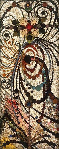 Buttons as mosaic tiles! #DIY