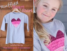 For those of you lucky enough to have a little girl in your life this Valentine's Day, I've put together a ruffled heart shirttutorialfor you. All you need are several thrift shop t-s…