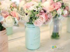 Painted mason jar wedding decor by Beacg Blues
