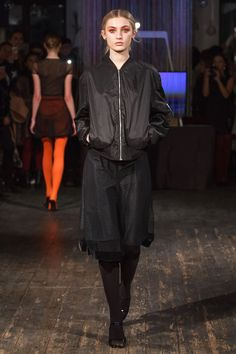"""Katie Gallagher Fall 2017 Ready-to-Wear Fashion Show - Model Kasia walks runway in an outfit from the Katie Gallagher Fall 2017 """"Hallow"""" collection, at 72 Allen Street on February 9, 2017 at New York Fashion Week Fall 2017."""