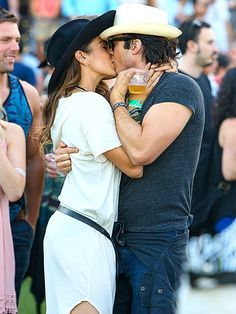 Ian Somerhalder and Nikki Reed Share a Sweet Kiss at Coachella (PHOTO) http://www.people.com/article/ian-somerhalder-nikki-reed-kiss-coachella-photo