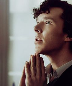 Bennedict Cumberbatch - I think this is his best angle.  I love his eyes and that hair!
