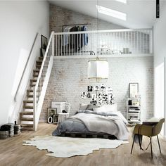 Interior, Terrific White Brick Wall With Adorable Gray Master Bed And Cool Mezanine With Charming White Wooden Staircase: Fantastic Scandinavian Style Interior Design