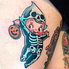 Tatuaje de halloween - Niño con disfraz de esqueleto | Kawaii halloween tattoo - Boy with skeleton costume