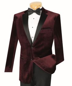 Vinci Mens Wine Velvet Slim Fit Tuxedo T-SV Get that red carpet treatment where ever you go that evening in Mens Suits Uk, Tuxedo Coat, Slim Fit Tuxedo, Fitted Suit, Men's Wardrobe, Formal Prom, Formal Wear, Mens Clothing Styles, Men's Clothing