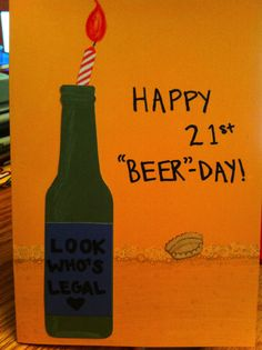 Guy's 21st birthday card, beer bottle with candle