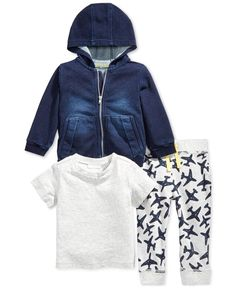 First Impressions Baby Boys' 3-Piece Denim Hoodie, T-Shirt & Airplane Pants Set, Only at Macy's