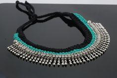 Blue Black Lambani Thread Cord Tribal Necklace Silver Necklaces, Silver Jewelry, Choker Necklaces, Tribal Necklace, Diy Necklace, Ethnic Jewelry, Indian Jewelry, Thread Jewellery, Yoga Accessories