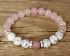 Check out our rhodonite bracelet selection for the very best in unique or custom, handmade pieces from our shops. Crystal Jewelry, Wire Jewelry, Beaded Jewelry, Jewellery, Gemstone Bracelets, Handmade Bracelets, Handmade Jewelry, Bracelet Crafts, Jewelry Crafts
