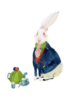 tracey long - Rabbit Print White Rabbit has breakfast 8x11 illustration
