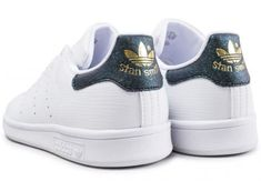 check out 9d56f 24125 Chaussures adidas Stan Smith junior blanche et iridescent vue dessous