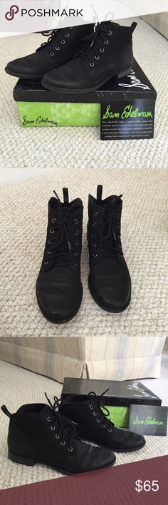 Sam Edelman Mare Booties Excellent condition with very slight wear on the bottom. Black nubuck leather. Very comfortable shoe. Comes with shoe box. Fits true to size. Sam Edelman Shoes Ankle Boots & Booties